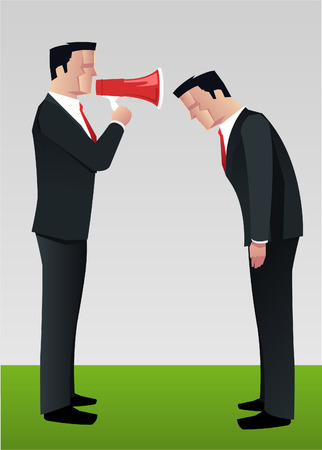 Businessman shouting to employee megaphone vector illustration.
