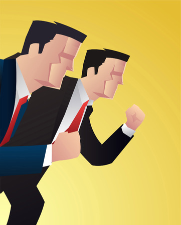 rivalry: Businessman competition rivalry power vector illustration.