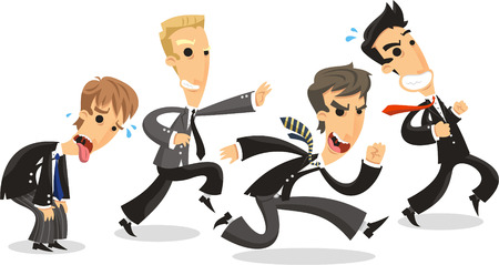 contend: 4 Business men dressed Elegant with Formal Suit and tie, running to battle business contend. Vector illustration cartoon. Illustration