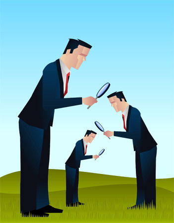 laboratory glass: Businessmen looking for something with a magnifying glass vector illustration Illustration