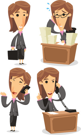 woman cellphone: Business Woman in Elegance Formal Suit in office situations, with lots of papers, telephone, cellphone carrying a briefcase. Vector illustration cartoon.