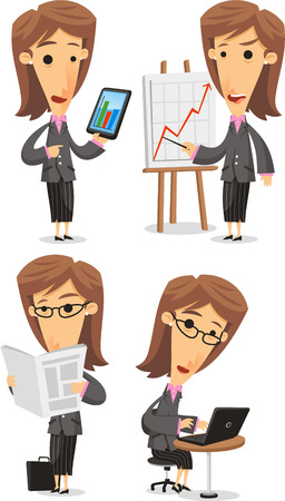 Business Woman in Elegance Formal Suit, with Businesswoman in office situation, in a meeting with statistics, with notebook, with tablet, reading the newspaper. Vector illustration cartoon.