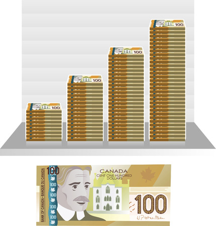 us paper currency: canadian Dollar ill graph vector illustration