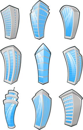 cartoon Skyscrapers icons. Vector