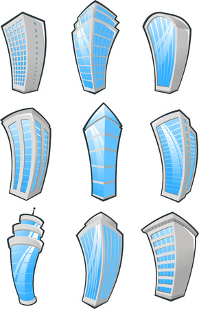 cartoon window: cartoon Skyscrapers icons.