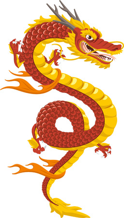 Chinese Dragon Traditional Culture, vector illustration cartoon. Vettoriali