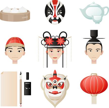 chinese tea cup: Elementos de la cultura china. Bola de arroz, M�scaras, Tetera, taza de t�, sombrero chino mandar�n, sombrero tradicional chino, linterna china, l�mpara de chino, escritura pluma, tinta, papel. Vector ilustraci�n de dibujos animados.