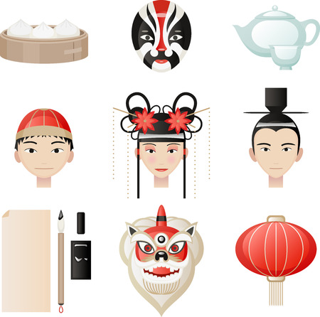 Chinese culture elements. Rice ball, Masks, Tea pot, tea cup, chinese mandarin hat, traditional chinese hat, chinese lantern, chinese lamp, writing quill, ink, paper. Vector illustration Cartoon. Illustration