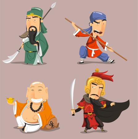 Chinese helden stripfiguren Stock Illustratie