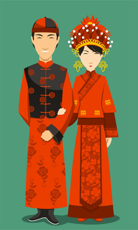 chinese dress: Chinese Bride and Groom Wedding Celebration, vector illustration cartoon. Illustration