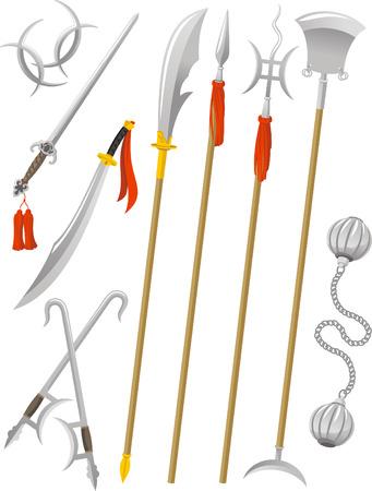 중국 전통 무기 무술, 벡터 그림 만화입니다.