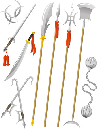 Chinese Traditional Weapons Martial Arts, vector illustration cartoon. Vettoriali