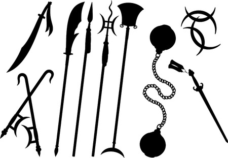 knive: Chinese Traditional Weapons Martial Arts Silhouette , vector illustration cartoon. Illustration
