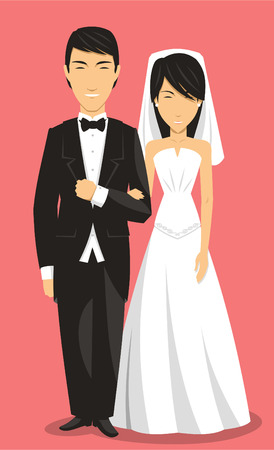 Chinese Bride and Groom Wedding Clothing, with groom in suit and bride in white dress vector illustration cartoon. Illusztráció
