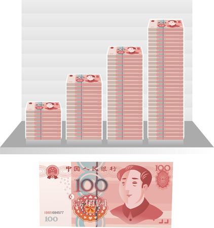 Chinese Yuan bill graph vector illustration Illustration