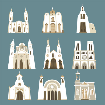 colonial house: Church cathedral temple oratory chapel basilica sanctuary front view collection. Vector illustration.