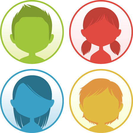 woman back of head: Head and Shoulder People Avatar Profile vector illustration.