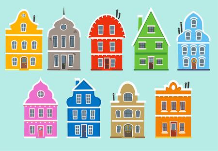 9 컬러 주택 (facades)의 집합입니다. 색상 아파트 주택 건축 갓 건설 주택 벡터 일러스트 레이 션. 일러스트