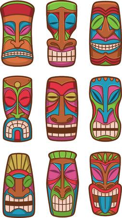 Hawaiian tiki god statue carved polynesian tikki ku lono wood set vector illustration.