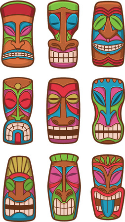 Hawaiian tiki god statue carved polynesian tikki ku lono wood set vector illustration.