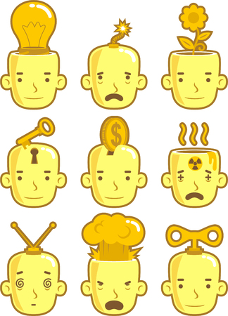 Avatar Head People Expressions Profile Character Cartoon Front View Concepts, vector illustration.
