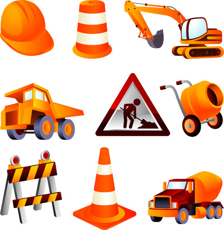 bulldoze: Construction equipment, dump truck, cement mixer, construction, barrel, cone, helmet, truck, lifting truck, drum. Vector Illustration Cartoon.