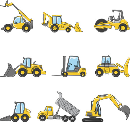 Construction Machines vector illustration collection.  イラスト・ベクター素材