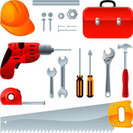 construction equipment: Construction equipment tools, vector icons Illustration
