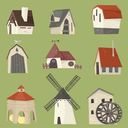 watermill: Countryside houses rural granary storehouse shelter cabin farm icon collection. Illustration