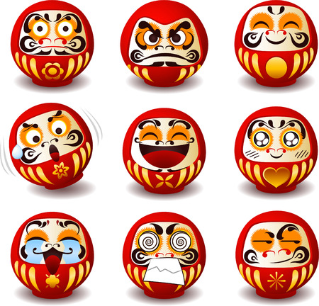japanese culture: Daruma doll, Daruma, Dharma doll, Dharma, round, Japanese traditional doll, Bodhidharma, zen, bearded man, good luck, talisman, symbol, symbol of perseverance, popular gift, encouragement, temples, monk, Buddhist monk, meditation. Vector illustration cart