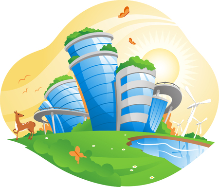 ecological city, working for the environment, antipollution projects, pollution control, conservation of natural resources, environmental policy. vector illustration.