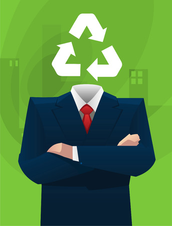 environmental suit: Ecological sustainable business ideas vector illustration. Illustration