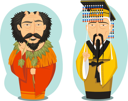 Yellow Emperor and Yandi Chinese Emperors, vector illustration cartoon. Illustration