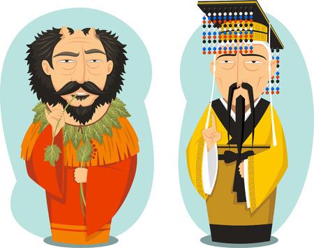 Yellow Emperor and Yandi Chinese Emperors, vector illustration cartoon. Illustration