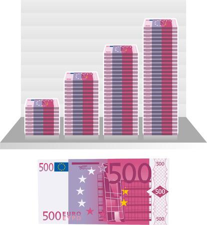 ヨーロッパ ユーロ法案グラフ ベクトル イラスト。