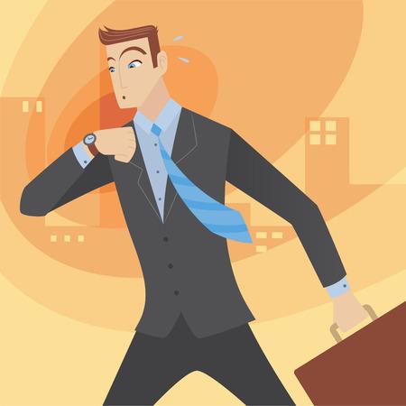 Executive businessman in a hurry. Vector