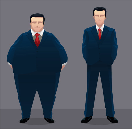 formalwear: Fat & slim businessman vector illustration.