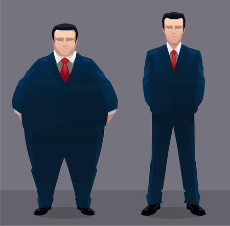 Fat & slim businessman vector illustration.