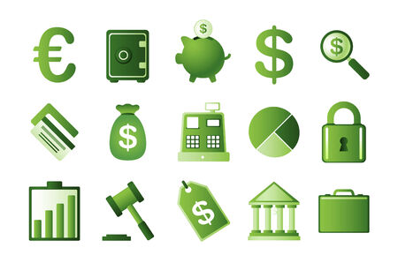 Green finance icons set, with euro symbol, dollar symbol, money bag, bank building, safe deposit box, bank vault, safe, credit card, cards, piggy bank, magnifying money glass, safe lock, money safe lock, padlock, money stats, economy stats, dollar label,