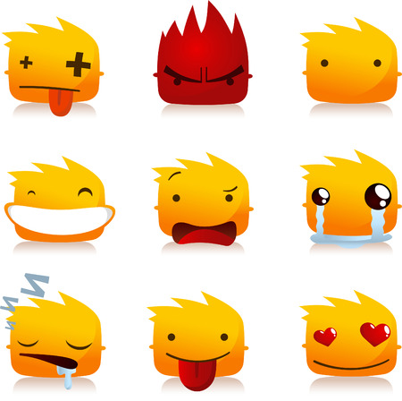 winking: Fire Flame Smileys with Head People Avatar Profile collection Set, vector illustration