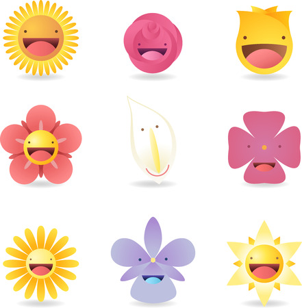 pessoa irreconhec�vel: special characters Friendly Smiley Flowers Avatar Cartoon Profile vector illustration.