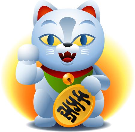 money cat: Dibujo animado del gato de la fortuna china Vectores