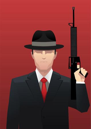 Businessman Gangster Mafia with Gun vector illustration.