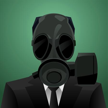 gas mask danger sign: Gas Mask Businessman vector illustration. Illustration