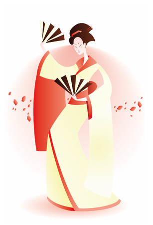 ceremonial makeup: geisha dance with fan and petals.