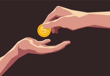 bringing home the bacon: Giving money business transaction buying selling dollar coin. Vector illustration cartoon.