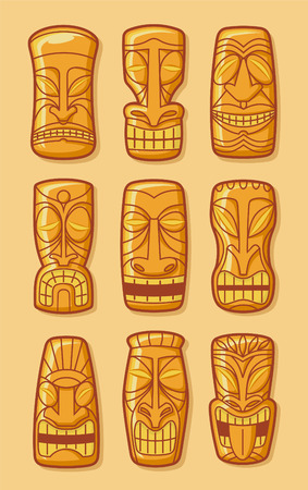 Hawaiian golden tiki god statue carved polynesian tikki ku lono gold vector illustration.