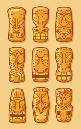 travel locations: Hawaiian golden tiki god statue carved polynesian tikki ku lono gold vector illustration.