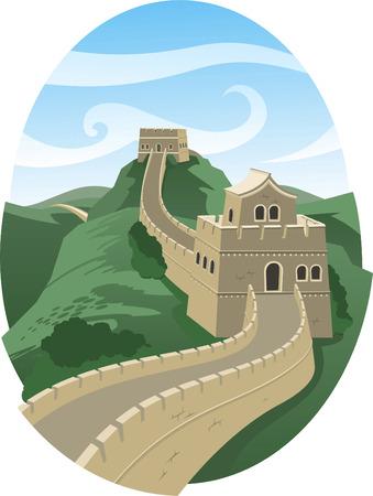 frame on wall: Grande Muraglia cinese illustrazione del paesaggio Vettoriali