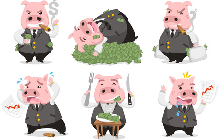 Greedy Pig Rich Banker in love with money, with six pigs in six different situations like Smoking cigar pig, sleeping on money, carrying money, desperate pig, eating money and shouting pig worried vector illustrator. Illustration